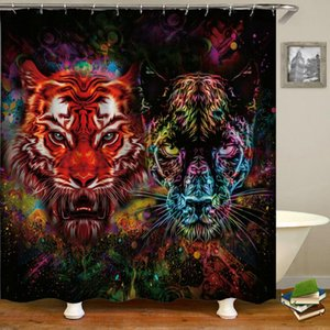 Waterproof Bathroom Shower Curtains Colorful Tiger lion Zebra Animal Bath Curtains 3d Printing With Hooks 180*180 Washable Cloth