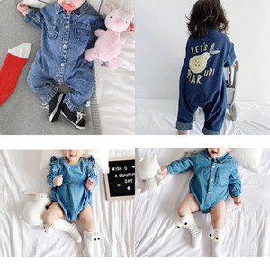 3 Styles Soft Denim Baby Romper Graffiti Infant Clothes Newborn Jumpsuit Babies Boy Girls Costume Cowboy Fashion Jeans Children W1218