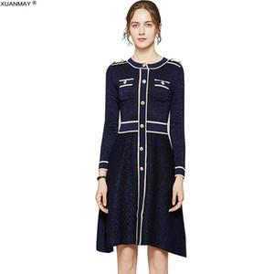 Decorazioni Retro manica lunga Sweater Dress Brand Design Office Lady brillante seta di autunno Donne Knit Dress 2020 stile lungo abito C1009