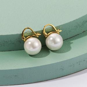 Ruiyi Echt 925 Sterling Silber Frauen Vintage Stil Natürliche Süßwasser Perle Ohrstecker Frauen 18 Karat Gold D Form Klappen Ohrringe