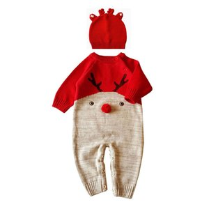 Xmas christmas Cartoon ELK Deer Baby Boys Girls rompers cap hat perfect gift kids Jumpsuit Bodysuit cotton Clothes Outfits