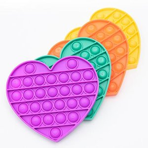 Love-shape with letters Stress Relief Bubble fidget Toys pop it Kids Sensory Toys For Adults Desktop educational toys