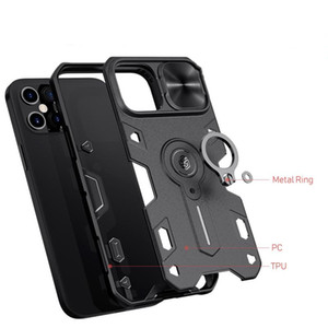 Slide Cover Camera Protection Shockproof Bumper Camshield Armor Finger Ring Stand Holder Back Cover Case for iphone 12 Series