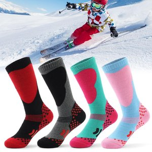 LIXADA 2 Pairs Children Sports Socks Professional Kids Ski Socks Winter Thick Knit Anti-skid Knee-high Stockings for Ski Cycling
