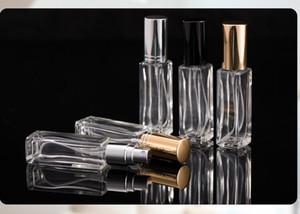 10 ml de perfume botella cuadrada niebla larga botella de spray botella de perfume de cristal portátil frascos de perfume Claro metálica con cubierta de oro negro de plata