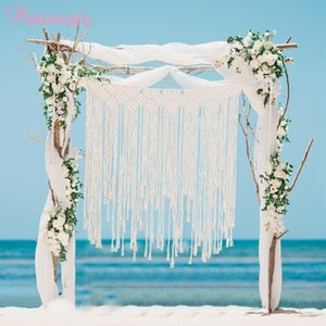 PATIMATE Macrame Curtain Tapestry Rustic Wedding Photo Backdrop Wedding Decoration Romantic Wedding Party Bride Party Favors