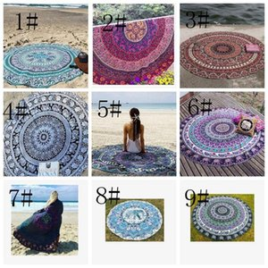 chiffon Boho Beach shawl Indian Mandala Beach Round Tapestry Decor Yoga Boho Picnic Mat sunscreen shawl beach Bikini Cover 23 style LJJK2142