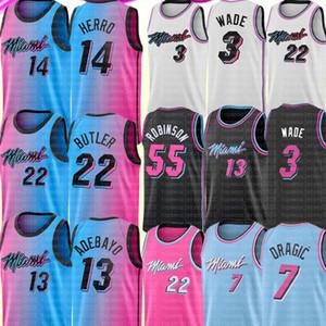 2021 Jimmy 22 Butler Jersey BAM 13 ADEBAYO Jersey Tyler 14 Herro Dwyane 3 Wade Jersey 55 Robinson Goran 7 Dragic Basketbol Formaları