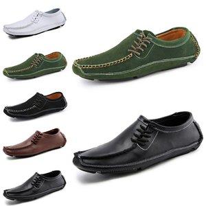 Nuevos Hombres No Marcas Soft Peep Peas Shoes Blanco Negro Negro Gris Moda Moda Pedal Al Aire Libre Cuero Hecho A Mano Casual Sneakers