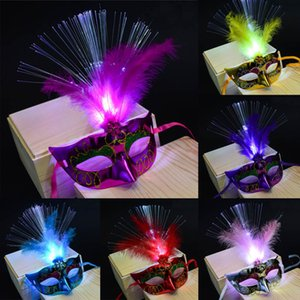 new LED 30#New Mask Arrival Fiber Women Venetian Masquerade Fanny Dress Party Princess Feather Masks funny gifts Dropshipping