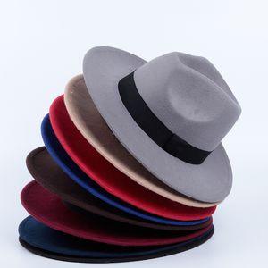 Nazik Man Kış Fedora Şapka Klasik Sıcak Kadın Şapka Geniş Brim Orta Genişliği Gorra Hombre Kış Vintage Lady Moda