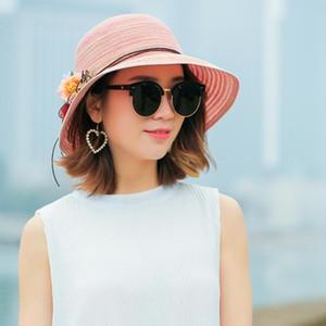 New Ma'am Stripe Dome Sunshade Sunscreen Sun panama woman visor Hat Wide Brim Foldable ladies Straw hats Plaited Sandy Beach Hat