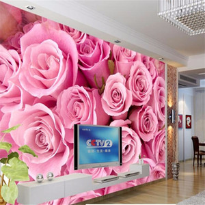 beibehang paper photography Stereoscopic Pink roses romantic TV backdrop flower living room bedroom wall mural luxury wallpaper