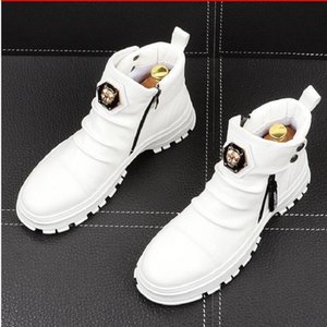 luxury Men Fashion Casual Ankle Boots Spring Autumn Punk Style Rivets Trend Shoes Male Leather High Top Sneakers white Black 1NX2