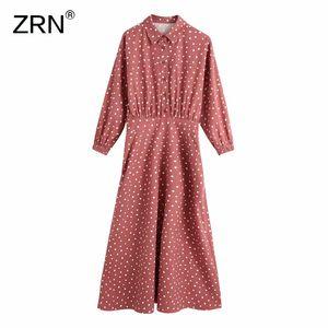 ZRN Women 2020 Vintage Polka Dot Shirt Dress Lapel Collar Long Sleeves Midi Dress Women Back Elastic Waistband Female Dresses 0930