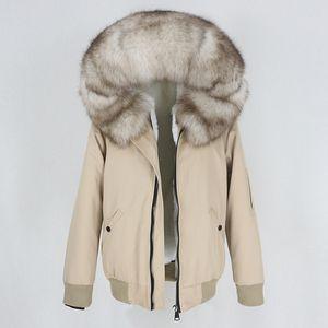 OFTBUY New Women Waterproof Bomber Parka Real Fur Coat Winter Jacket Women Natural Fox Fur Collar Hood Warm Thick Outerwear 201026