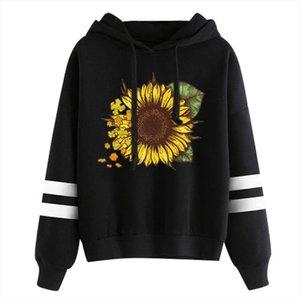 Womens Sunflower hoodies Print Long Sleeve Casual Hoodie Sweatshirt Hooded Pullover Tops hoodie women fall clothing hoodies Tops