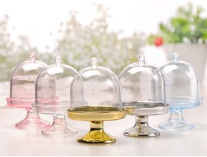 Transparent Mini Cake Holder Plastic Candy Cake Stand Wedding Favor Boxes Cake Boxes 7x5 .5cm Plastic Cakes Stand Box