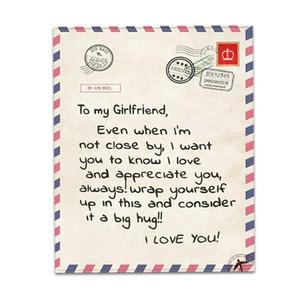 Flanela lançar cobertor para minha filha ou letra impressa Quilts Mom Dad Filho para Blanket Air Mail da filha Incentivar e amor DHE2401
