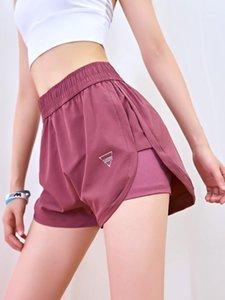 Esportes shorts feminino secagem rápida cintura alta desgaste correr shorts solto casual anti-shine fitness yoga1