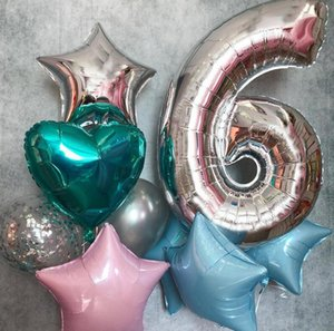 "40 zoll 40 ""Big Folil Number 0-9 Ballon Gold Gradient Rote Riese Float Ballons Ball Kinder Happy Birthday Party Hochzeit Neujahr Dekor E122301"