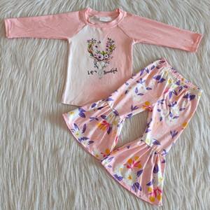 Moda Boutique Baby Pink Flower Cow Head Abbigliamento a maniche lunghe Abbigliamento per bambini Nuovo Designer Abbigliamento Personaggio Pantaloni stampati Suit Tide