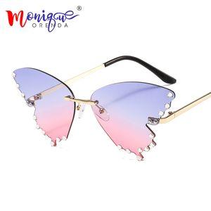 Butterfly Sunglasses Women Men Fashion Rimless Flame Sun Glass Rhinestones Mirror Cat Eye Eyewear UV400 Oculos Masculino