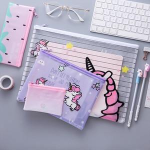 Meninas transparente Cosmetic Bags Unicorn Limpar Makeup Caso Miúdos Estudante bonito Coin Lápis de armazenamento de papel saco de viagem Organizador Pouch