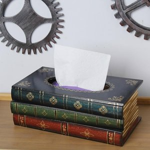 Simulation book wooden tissue box classical creativity dining table napkin holder modern fashion living room decoration