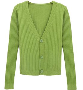The Knitwear Cardigan Spring and Autumn 2020 New Korean Version V-neck thin vertical stripe long-sleeve sweater