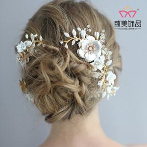 S8190 NPASON Bride Couvre-chef Céramique Manuel Peigne Costume Golden Flower Accessoires de mariage Nouveau