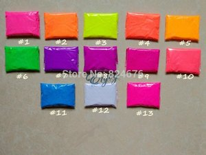 Оптово Смешанные 13 цветов, 10 г на цветной флуоресцентный порошок пигмента для краски Мыло Неон порошок Косметические Помада Nail Art польский pT3b #
