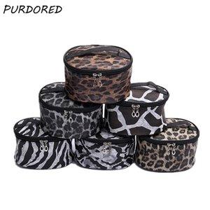 PURDORED 1 Pc Leopard Cosmetic Bag PU Leather Women Large Capacity Make Up Bag Barrel Shaped Travel Organizer Beauty Case