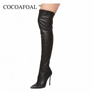 COCOAFOAL Women Sexy About The Knees Laarzen Winter Woman High Hook Shoes Plus Size 33 43 Black Red Fashion By High Laarzen DzjI#
