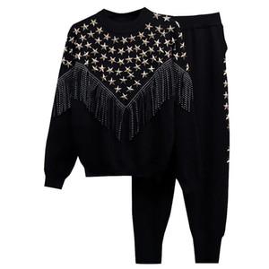 Tricotée 2 Peice Set Femmes manches longues perles chandail Hauts pour femmes + costume pantalon Tenues Survêtement Casual 2020 d'hiver