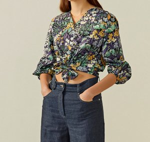 Cotton Printed V-neck Eight-quarter Sleeve Shirt Summer Jacket Women Casual Fashion All-match W1221