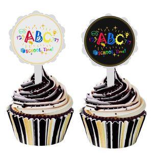 6pcs lot DIY Cute ABC School Time Cake Stick Sticker Decor Ice-cream Cupcake Toppers Picks Back To School Party Dessert Decor