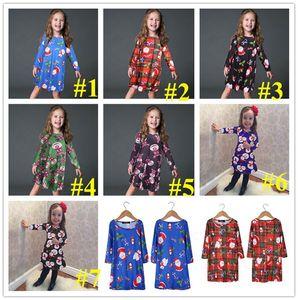 3-8 Years Old Girls Dress Kids Christmas Clothing Skirt Santa Claus Snowman Penguin Elk Bear Cartoon Printed Long Sleeve Xmas Dress E101903