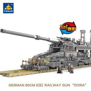 KAZI 3846PCS Военный боевой танк тяжелый Густав Густавский трек DIY собрал строительные блоки Детские подарочные игрушки 6-15 лет C0119