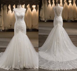 Classic Mermaid Wedding Dresses Lace 2021 Sexy V Open Back Sheer Cap Sleeve Jewel Applique Beaded Sequins Bridal Dress Womens Party Bride