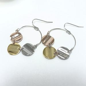 benzersiz kız için lüks Earrings bambu küpe 3 renk kaplamalı disk sarkıtmak küpe moda tasarımcısı takı
