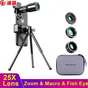 HD 25x Teléfono Cámara Lente Telescopio Lentille Zoom Macro Pescado Lente Ojo Para IPHHEPHONTHTPHONE TAPA CAMARA PORTATIL