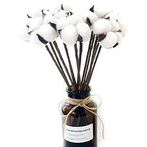 10 Pacco Artificiale Cotton Boll Boll Stelo Stelo Film Flower Props Home Wedding Hotel Party Decor Approssimativamente 13 pollici High1