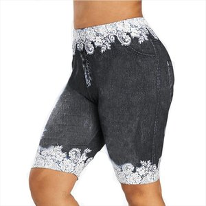 Print Short Legging Women Jeggings High Waist Elastic Capri Leggins Pants Summer Breeches False Denim Perfect Fit Jeans Leggings