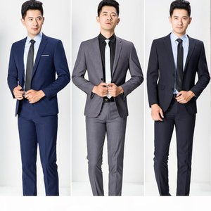 Wholesale- 2020 New Mens Business Suits Casual Blazer Mens Professional Clothing 2 Pieces Jacket+Pants Groomsman Dinner Jacket MT287