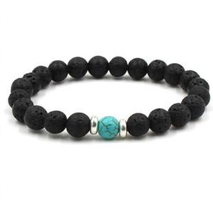 Lava Stone Beads Bracelets Natural Black Essential Oil Diffuser Elastic Bracelet Volcanic Rock Beaded Hand Strings Yoga Chakra men Bracelet