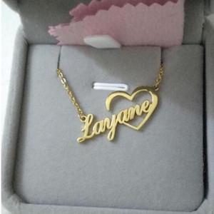 Catene Squisita Nome cuore Nome collana in acciaio inox Lettera personalizzata Nameplate Choker Collane per le donne gioielli damigella d'onore regalo BFF