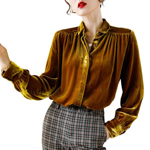 100% Silk Women's Shirts Turn Down Collar Long Sleeves Elegant Autumn Velour Blouse Velvet Tops Camisas