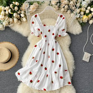 Cherry Dress Strawberry Kawaii Embroidery Puff Sleeve Dress Women Vintage White Square Neck Beach Dresses 2020 Korean Clothes