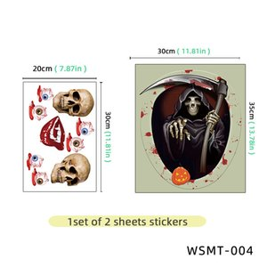 Luminous Toilet Stickers Horror Skull Witch Motif Gesture Bathroom Toilet Seat Sticker Halloween WC Home Decor EEC2163